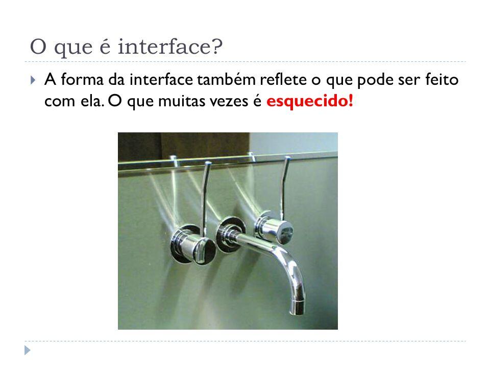 O que é interface? A forma da interface também reflete o que pode ser feito com ela. O que muitas vezes é esquecido!