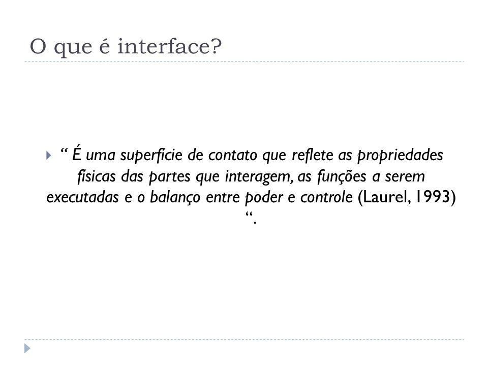 O que é interface? É uma superfície de contato que reflete as propriedades físicas das partes que interagem, as funções a serem executadas e o balanço