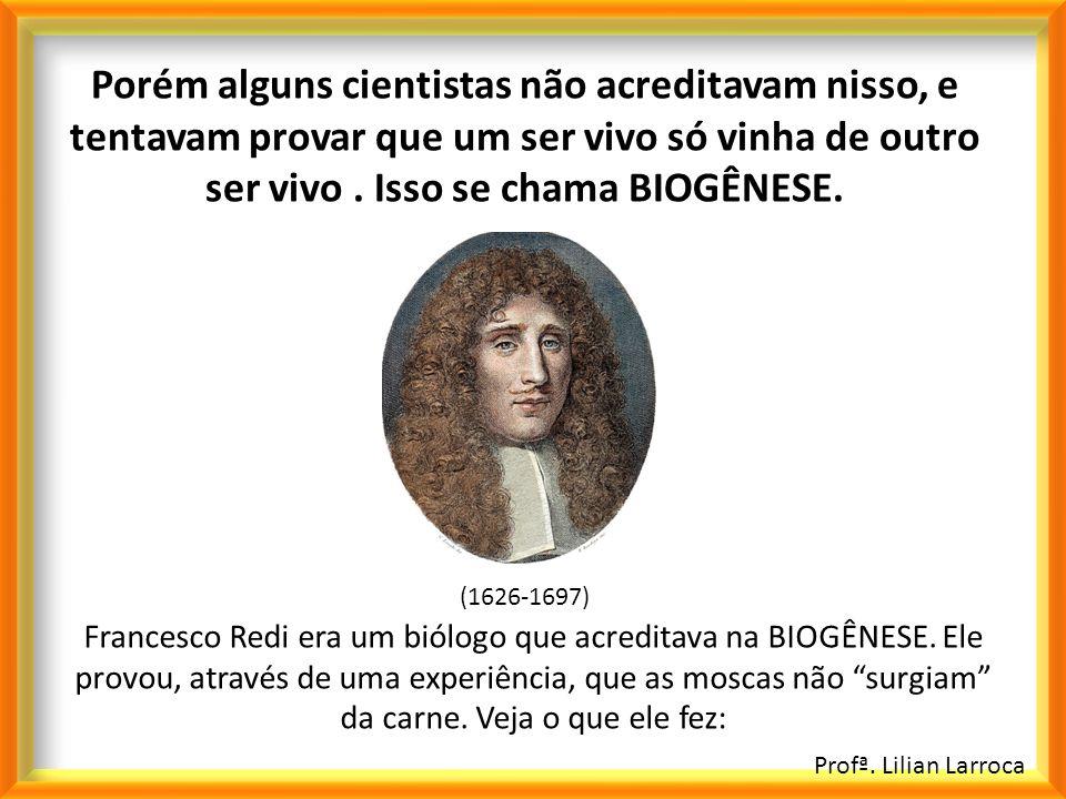 Profª. Lilian Larroca Porém alguns cientistas não acreditavam nisso, e tentavam provar que um ser vivo só vinha de outro ser vivo. Isso se chama BIOGÊ