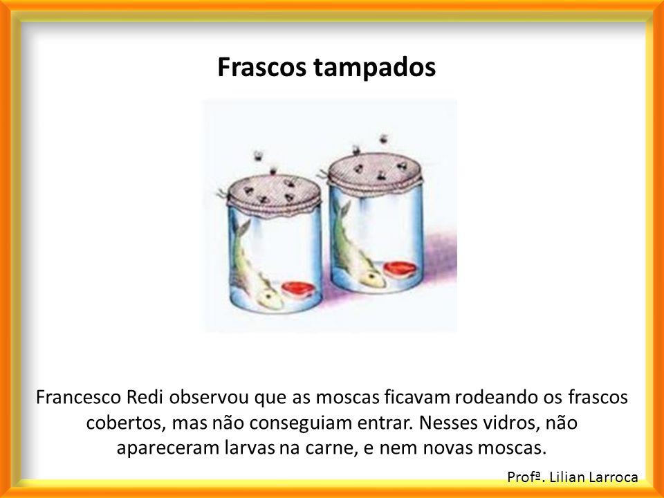 Profª. Lilian Larroca Frascos tampados Francesco Redi observou que as moscas ficavam rodeando os frascos cobertos, mas não conseguiam entrar. Nesses v