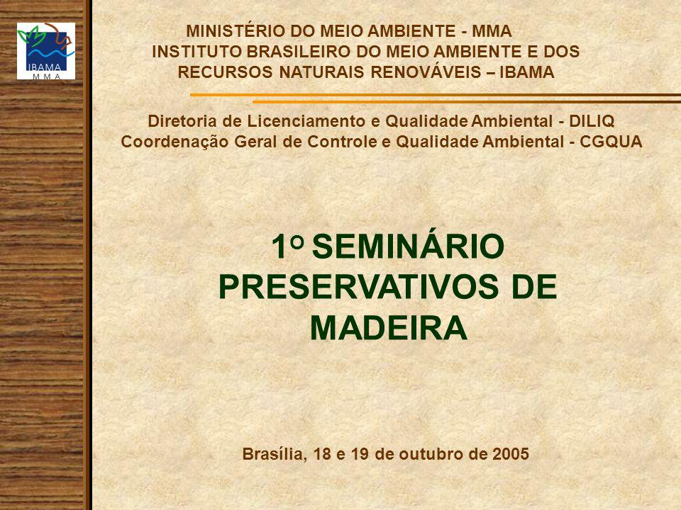 Diretoria de Licenciamento e Qualidade Ambiental - DILIQ Coordenação Geral de Controle e Qualidade Ambiental - CGQUA MINISTÉRIO DO MEIO AMBIENTE - MMA