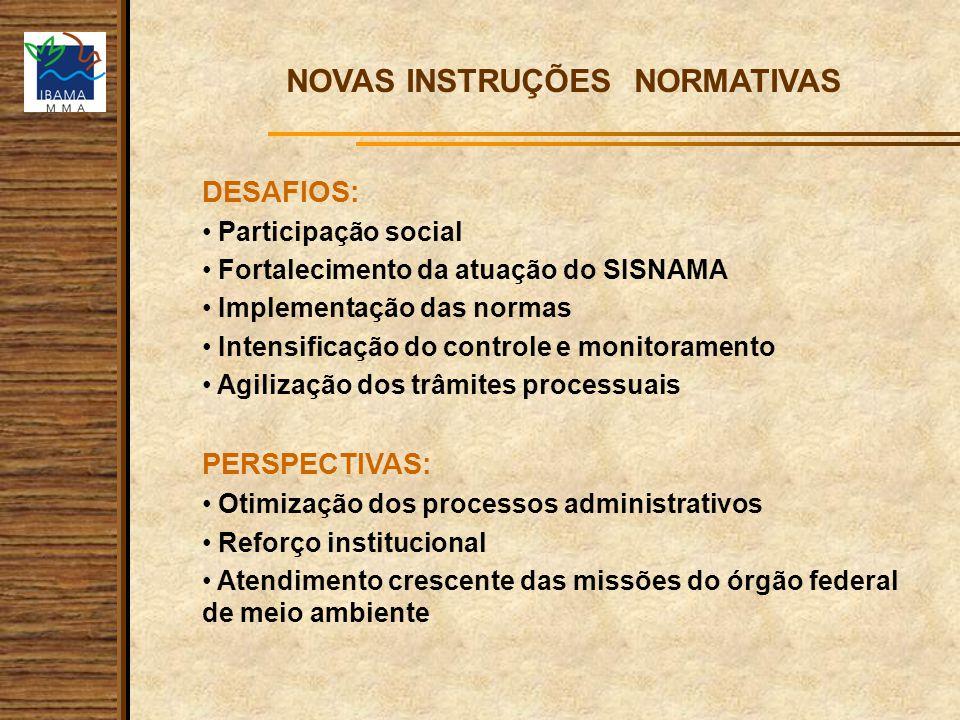 NOVAS INSTRUÇÕES NORMATIVAS DESAFIOS: Participação social Fortalecimento da atuação do SISNAMA Implementação das normas Intensificação do controle e m
