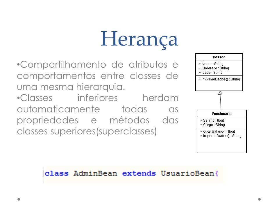 Herança Compartilhamento de atributos e comportamentos entre classes de uma mesma hierarquia. Classes inferiores herdam automaticamente todas as propr