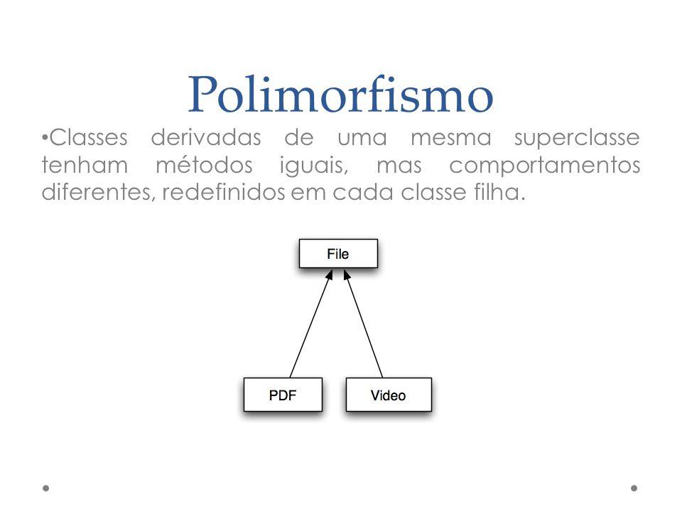 Polimorfismo Classes derivadas de uma mesma superclasse tenham métodos iguais, mas comportamentos diferentes, redefinidos em cada classe filha.