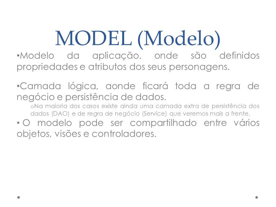 MODEL (Modelo) Modelo da aplicação, onde são definidos propriedades e atributos dos seus personagens. Camada lógica, aonde ficará toda a regra de negó