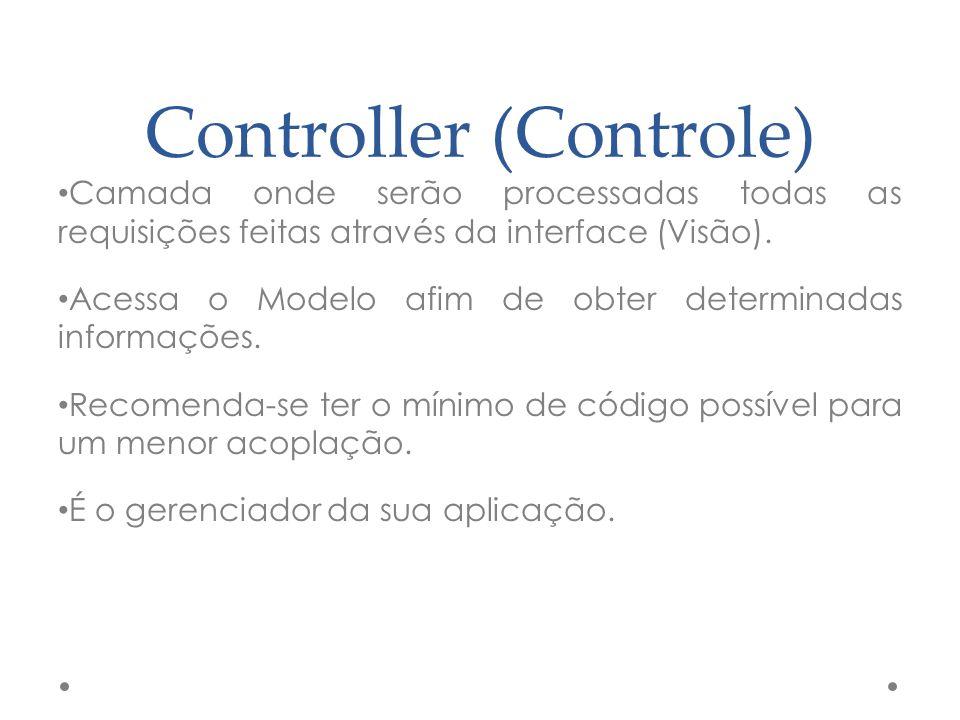 Controller (Controle) Camada onde serão processadas todas as requisições feitas através da interface (Visão). Acessa o Modelo afim de obter determinad