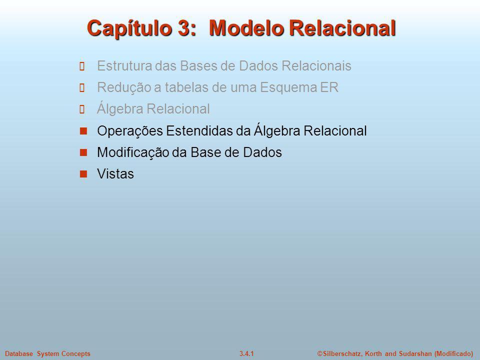 ©Silberschatz, Korth and Sudarshan (Modificado)3.4.1Database System Concepts Capítulo 3: Modelo Relacional Estrutura das Bases de Dados Relacionais Re