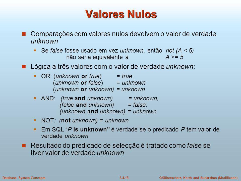 ©Silberschatz, Korth and Sudarshan (Modificado)3.4.15Database System Concepts Valores Nulos Comparações com valores nulos devolvem o valor de verdade