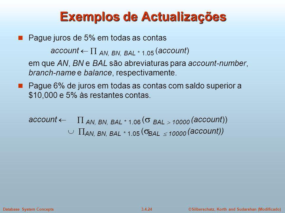 ©Silberschatz, Korth and Sudarshan (Modificado)3.4.24Database System Concepts Exemplos de Actualizações Pague juros de 5% em todas as contas account A