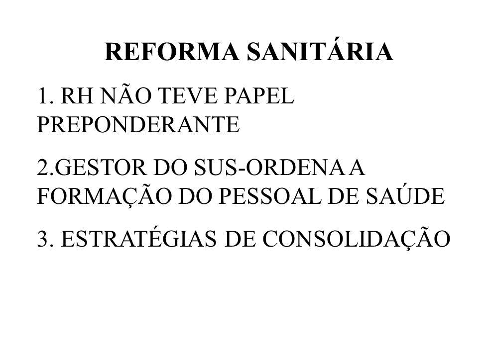 REFORMA SANITÁRIA 1. RH NÃO TEVE PAPEL PREPONDERANTE 2.GESTOR DO SUS-ORDENA A FORMAÇÃO DO PESSOAL DE SAÚDE 3. ESTRATÉGIAS DE CONSOLIDAÇÃO