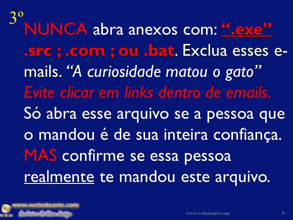 NUNCA abra anexos com:.exe.src ;.com ; ou.bat.Exclua esses e- mails.