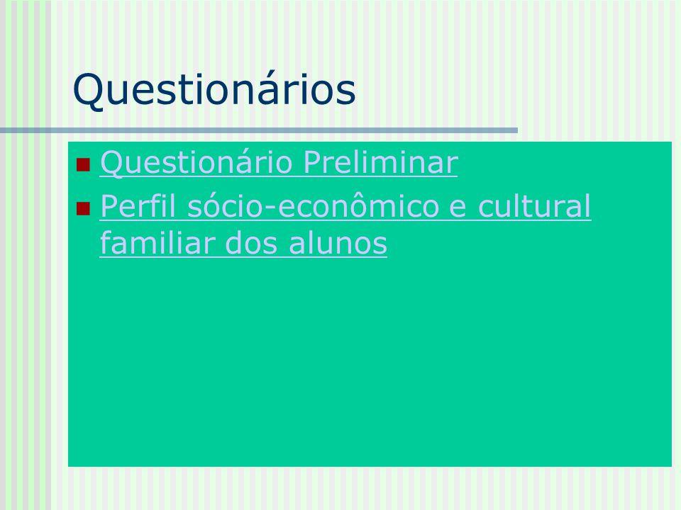 Questionários Questionário Preliminar Perfil sócio-econômico e cultural familiar dos alunos Perfil sócio-econômico e cultural familiar dos alunos