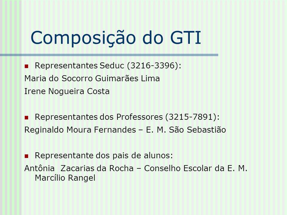 Composição do GTI Representantes Seduc (3216-3396): Maria do Socorro Guimarães Lima Irene Nogueira Costa Representantes dos Professores (3215-7891): R