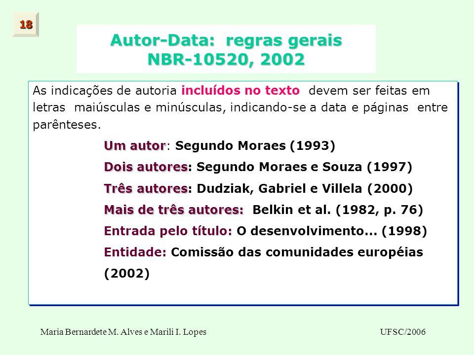 Maria Bernardete M. Alves e Marili I. LopesUFSC/2006 Autor-Data: regras gerais NBR-10520, 2002 As indicações de autoria incluídos no texto devem ser f