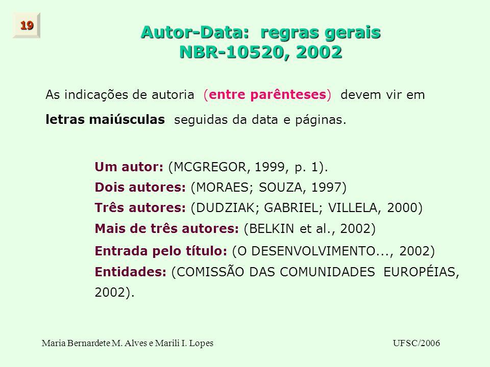 Maria Bernardete M. Alves e Marili I. LopesUFSC/2006 Autor-Data: regras gerais NBR-10520, 2002 As indicações de autoria (entre parênteses) devem vir e