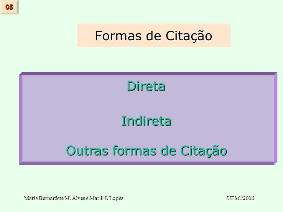 Maria Bernardete M. Alves e Marili I. LopesUFSC/2006 Formas de Citação 05 Direta DiretaIndireta Outras formas de Citação