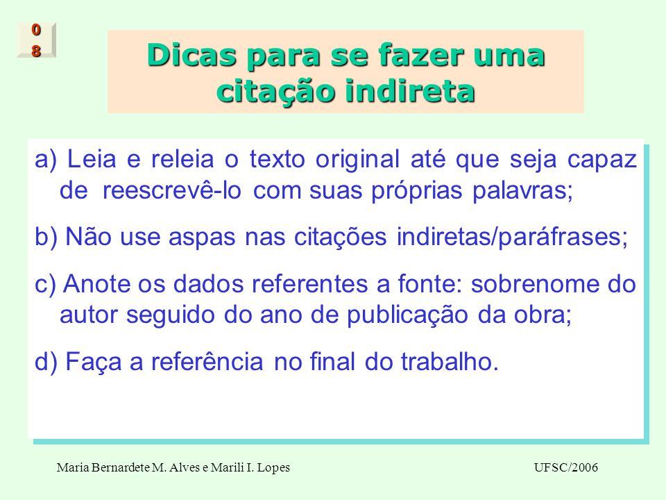 Maria Bernardete M. Alves e Marili I. LopesUFSC/2006 Dicas para se fazer uma citação indireta a) Leia e releia o texto original até que seja capaz de