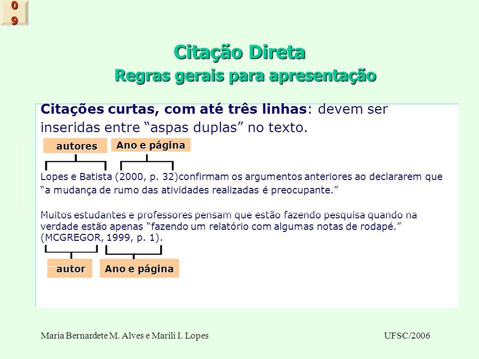 Maria Bernardete M. Alves e Marili I. LopesUFSC/2006 Citação Direta Regras gerais para apresentação Citações curtas, com até três linhas: devem ser in