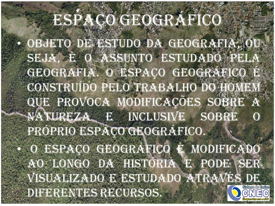 ESPAÇO GEOGRÁFICO Objeto de estudo da Geografia, ou seja, é o assunto estudado pela geografia.