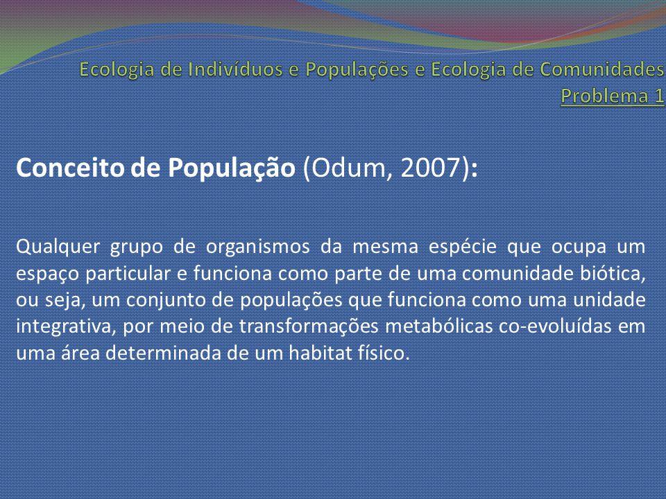 Conceito de População (Odum, 2007): Qualquer grupo de organismos da mesma espécie que ocupa um espaço particular e funciona como parte de uma comunida