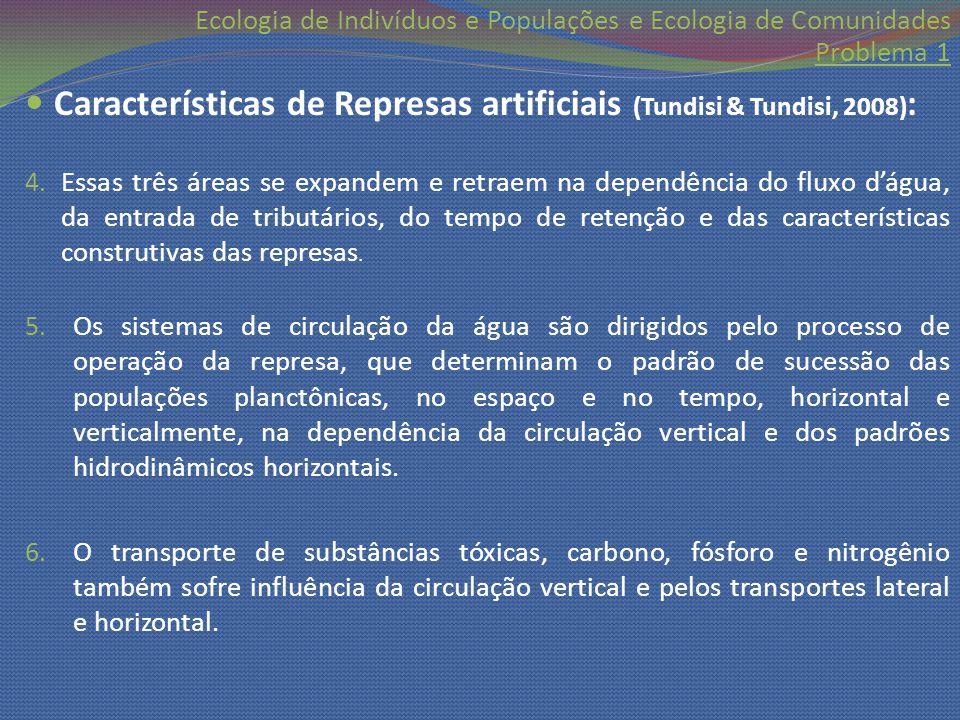 Ecologia de Indivíduos e Populações e Ecologia de Comunidades Problema 1 Características de Represas artificiais (Tundisi & Tundisi, 2008) : 4. Essas