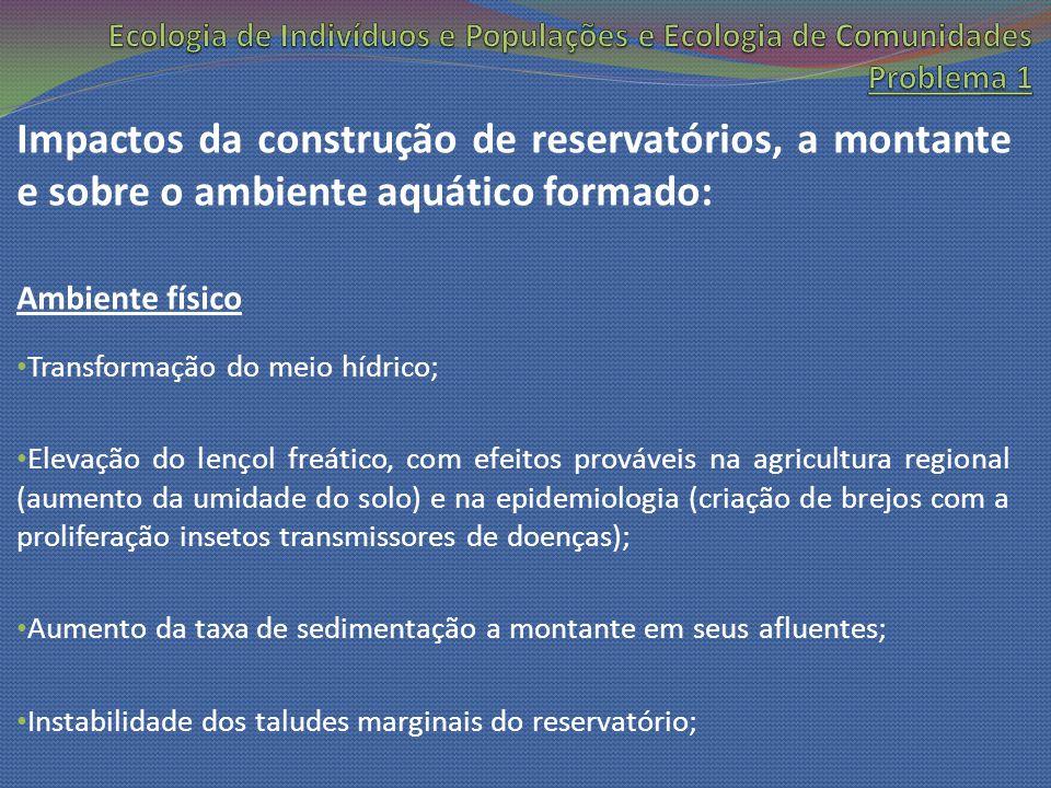 Impactos da construção de reservatórios, a montante e sobre o ambiente aquático formado: Ambiente físico Transformação do meio hídrico; Elevação do le