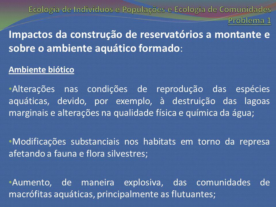 Impactos da construção de reservatórios a montante e sobre o ambiente aquático formado : Ambiente biótico Alterações nas condições de reprodução das e