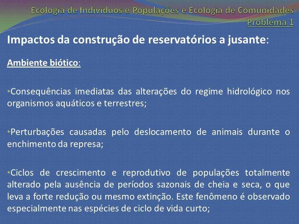 Impactos da construção de reservatórios a jusante: Ambiente biótico: Consequências imediatas das alterações do regime hidrológico nos organismos aquát