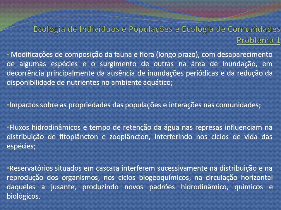 Modificações de composição da fauna e flora (longo prazo), com desaparecimento de algumas espécies e o surgimento de outras na área de inundação, em d
