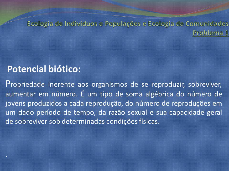 Potencial biótico: P ropriedade inerente aos organismos de se reproduzir, sobreviver, aumentar em número. É um tipo de soma algébrica do número de jov