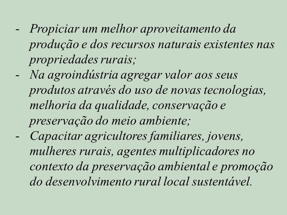 -Propiciar um melhor aproveitamento da produção e dos recursos naturais existentes nas propriedades rurais; -Na agroindústria agregar valor aos seus p