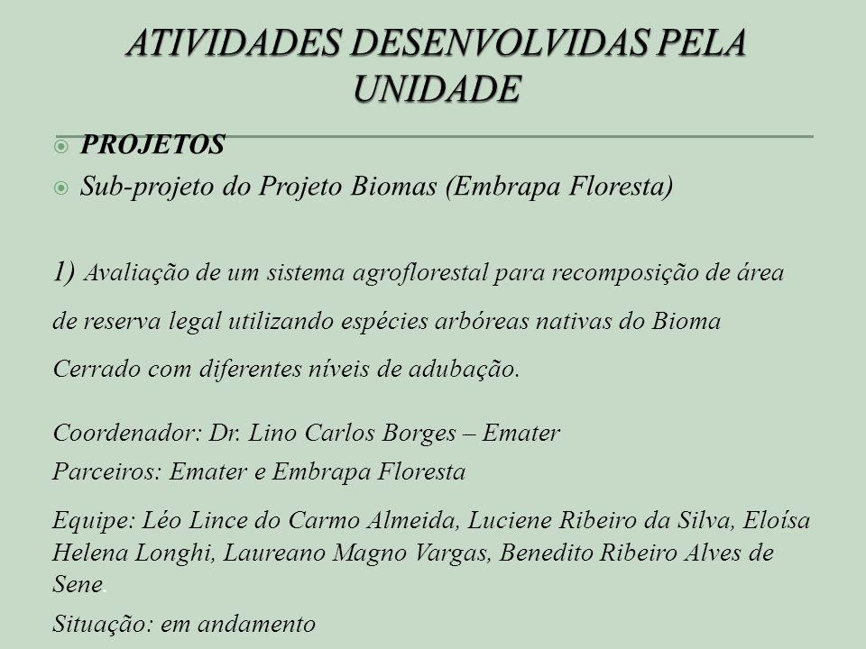 PROJETOS Sub-projeto do Projeto Biomas (Embrapa Floresta) 1) Avaliação de um sistema agroflorestal para recomposição de área de reserva legal utilizando espécies arbóreas nativas do Bioma Cerrado com diferentes níveis de adubação.