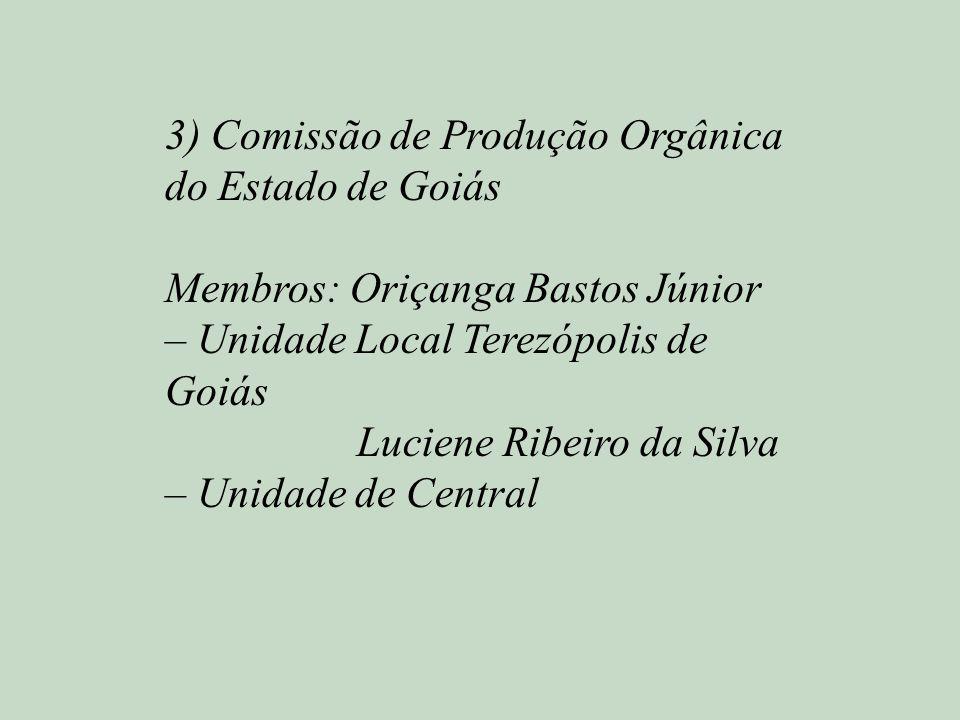 3) Comissão de Produção Orgânica do Estado de Goiás Membros: Oriçanga Bastos Júnior – Unidade Local Terezópolis de Goiás Luciene Ribeiro da Silva – Un