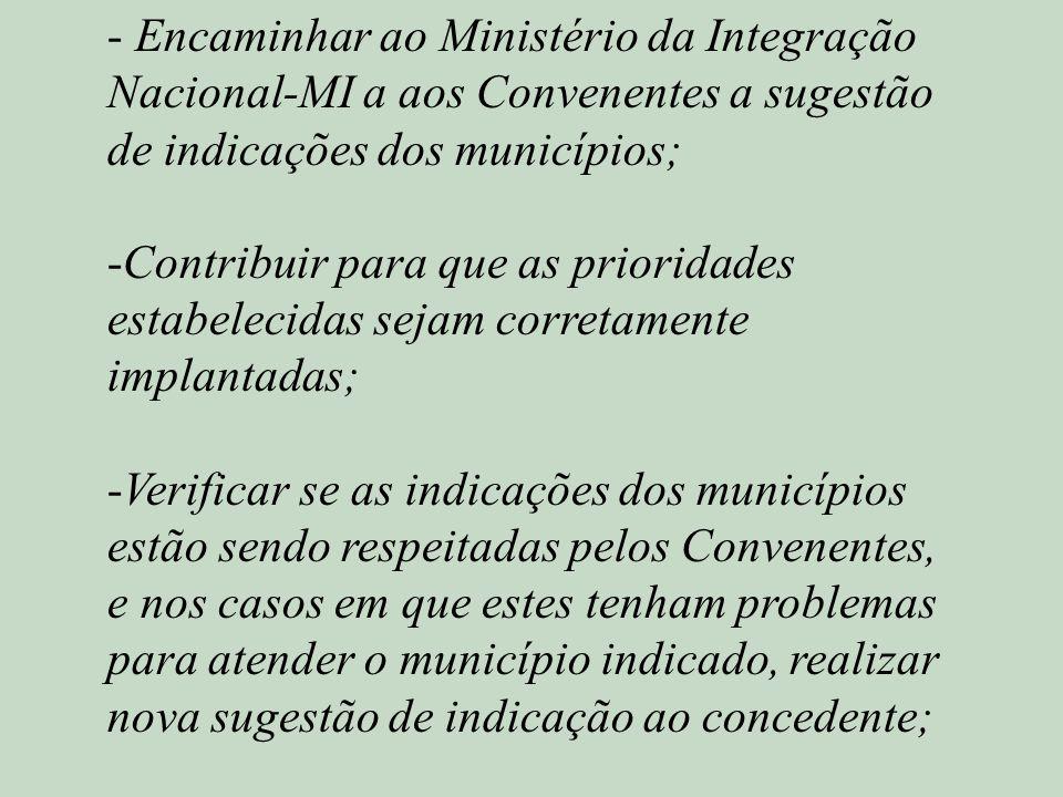 - Encaminhar ao Ministério da Integração Nacional-MI a aos Convenentes a sugestão de indicações dos municípios; -Contribuir para que as prioridades es