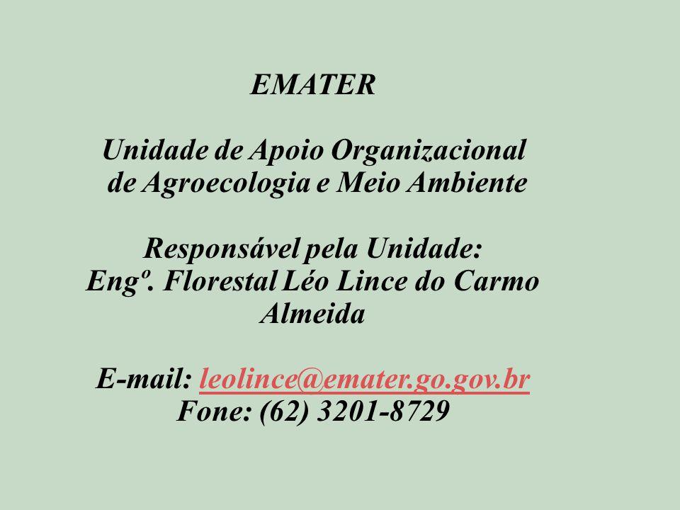 EMATER Unidade de Apoio Organizacional de Agroecologia e Meio Ambiente Responsável pela Unidade: Engº.