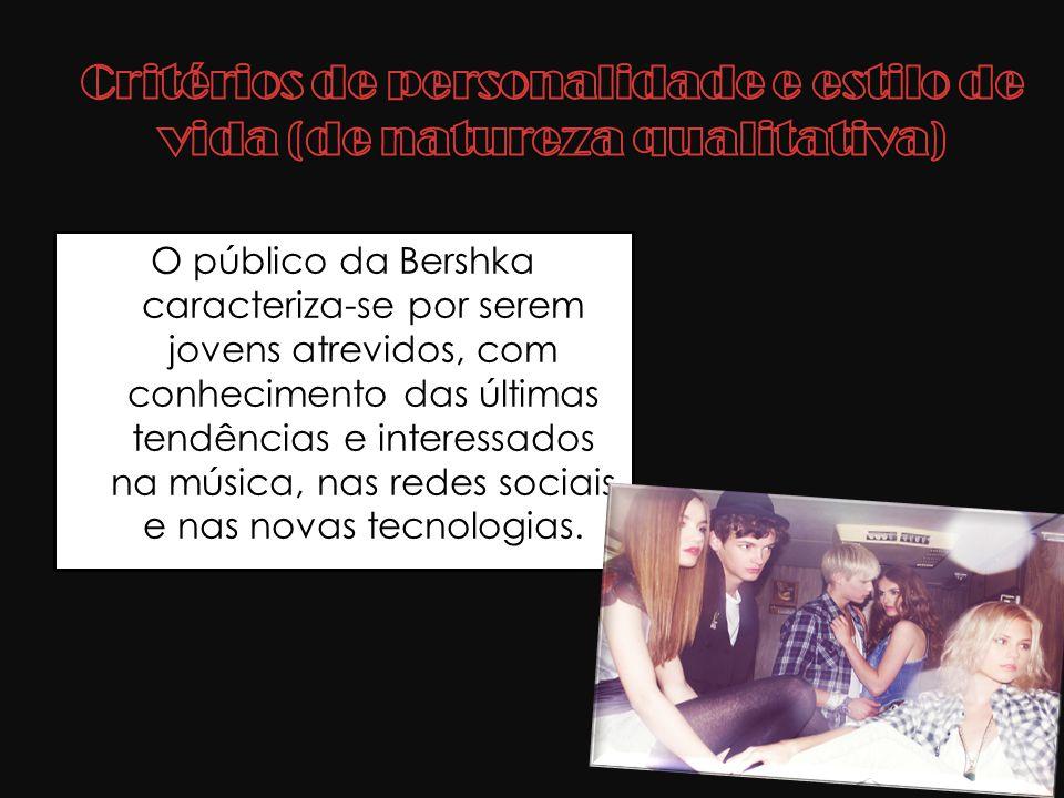 O público da Bershka caracteriza-se por serem jovens atrevidos, com conhecimento das últimas tendências e interessados na música, nas redes sociais e
