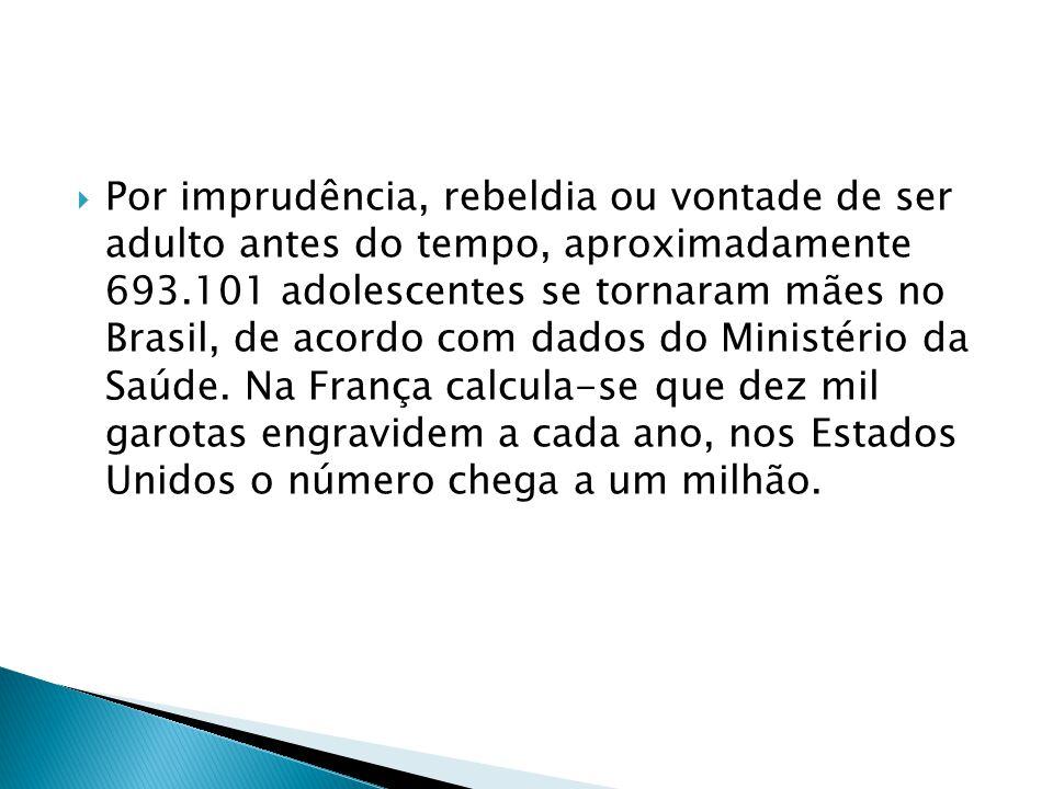 Por imprudência, rebeldia ou vontade de ser adulto antes do tempo, aproximadamente 693.101 adolescentes se tornaram mães no Brasil, de acordo com dado