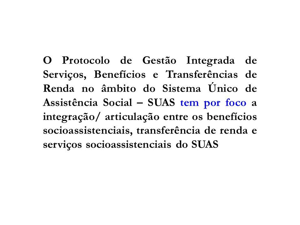 O Protocolo de Gestão Integrada de Serviços, Benefícios e Transferências de Renda no âmbito do Sistema Único de Assistência Social – SUAS tem por foco
