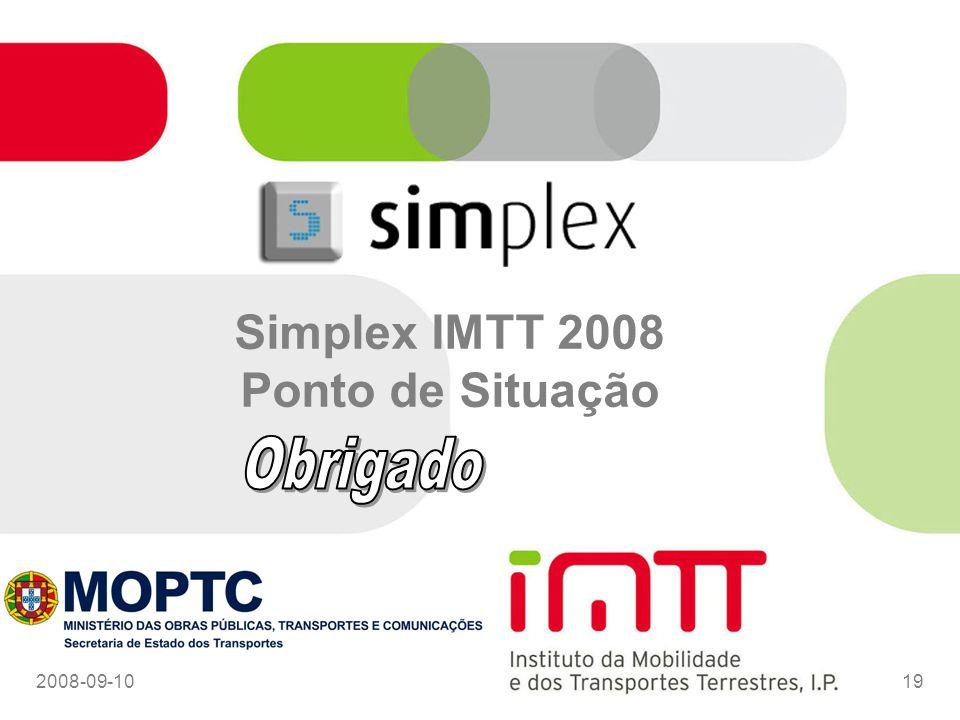 2008-09-1019 Simplex IMTT 2008 Ponto de Situação