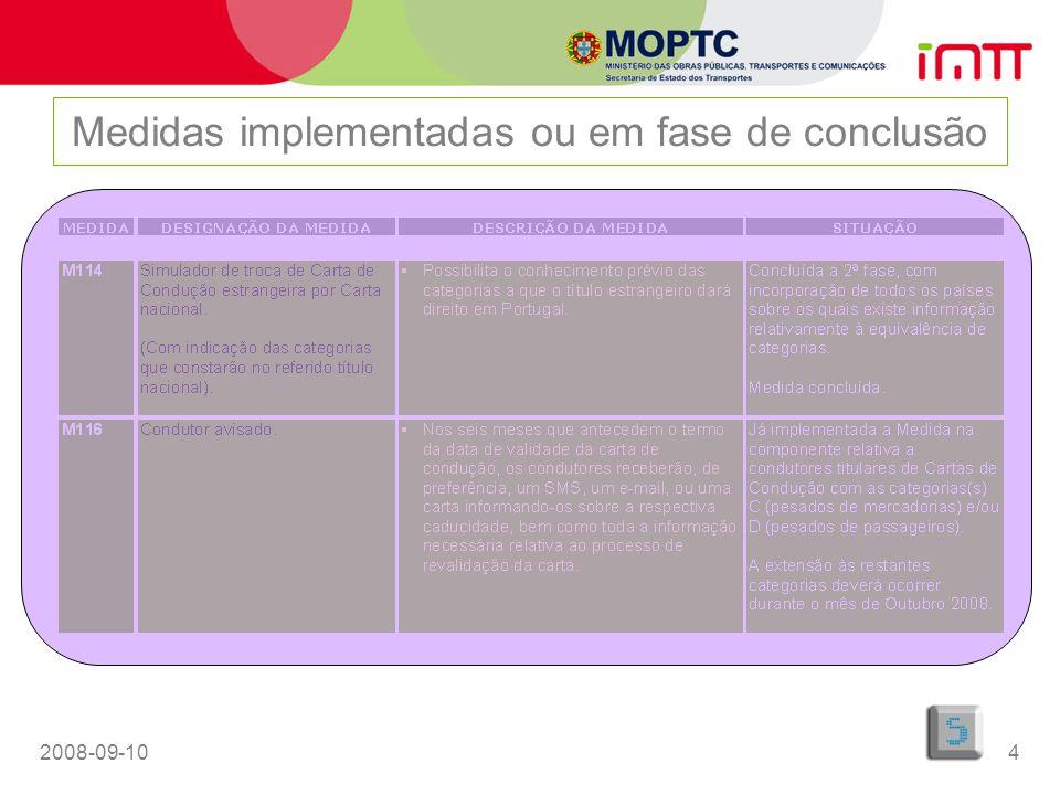2008-09-105 Medidas implementadas ou em fase de conclusão