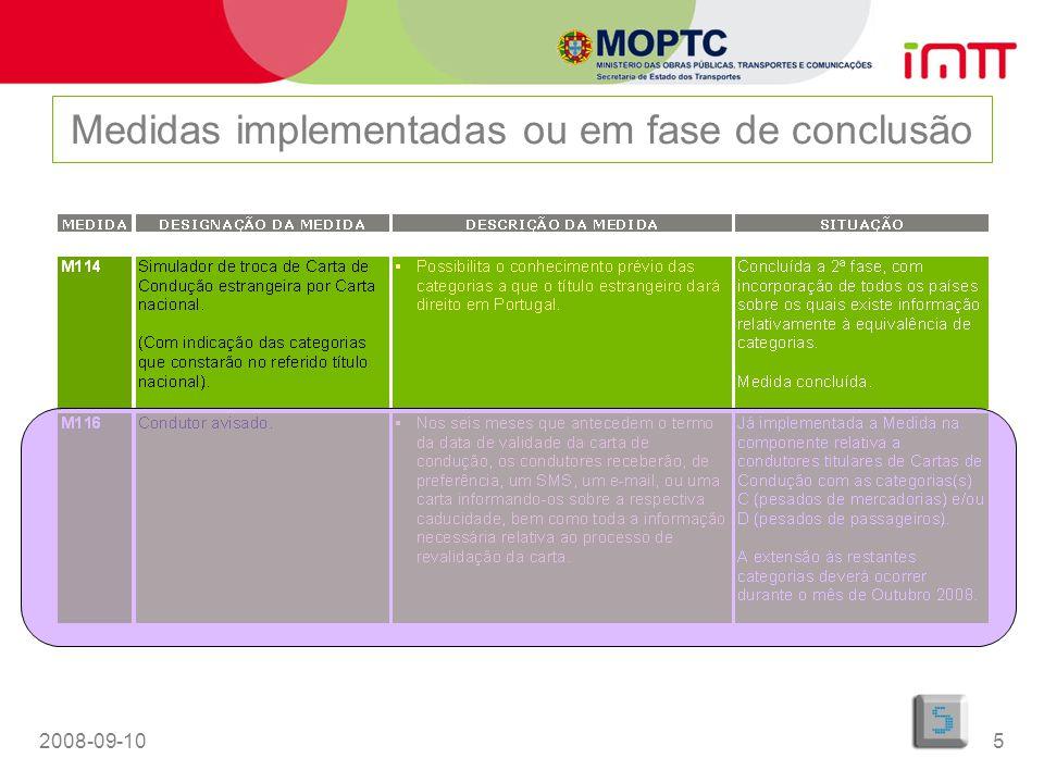 2008-09-106 Medidas implementadas ou em fase de conclusão