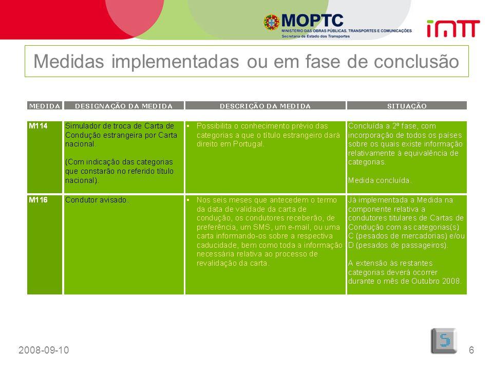 2008-09-1017 Medidas não incluídas no Programa Simplex Centro de Contacto (Contact Centre) –Concurso público a decorrer; –Inclui apoio telefónico aos Serviços On-line; –Prevista conclusão do procedimento até final de 2008.