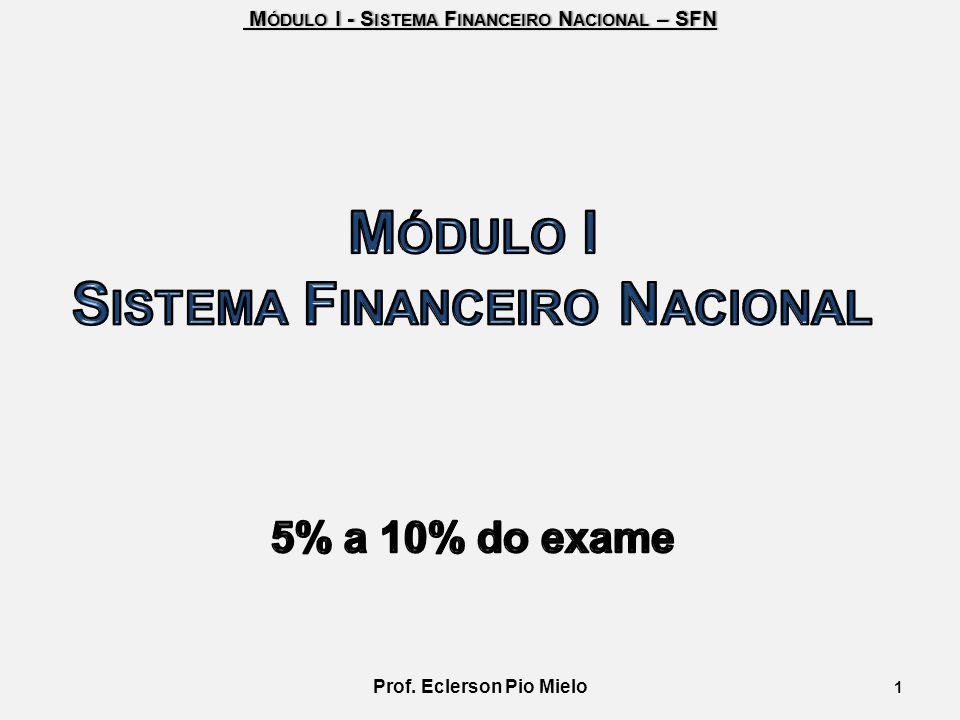 M ÓDULO I - S ISTEMA F INANCEIRO N ACIONAL – SFN M ÓDULO I - S ISTEMA F INANCEIRO N ACIONAL – SFN 1 Prof. Eclerson Pio Mielo