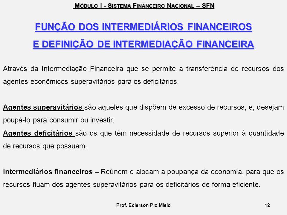 M ÓDULO I - S ISTEMA F INANCEIRO N ACIONAL – SFN M ÓDULO I - S ISTEMA F INANCEIRO N ACIONAL – SFN FUNÇÃO DOS INTERMEDIÁRIOS FINANCEIROS E DEFINIÇÃO DE