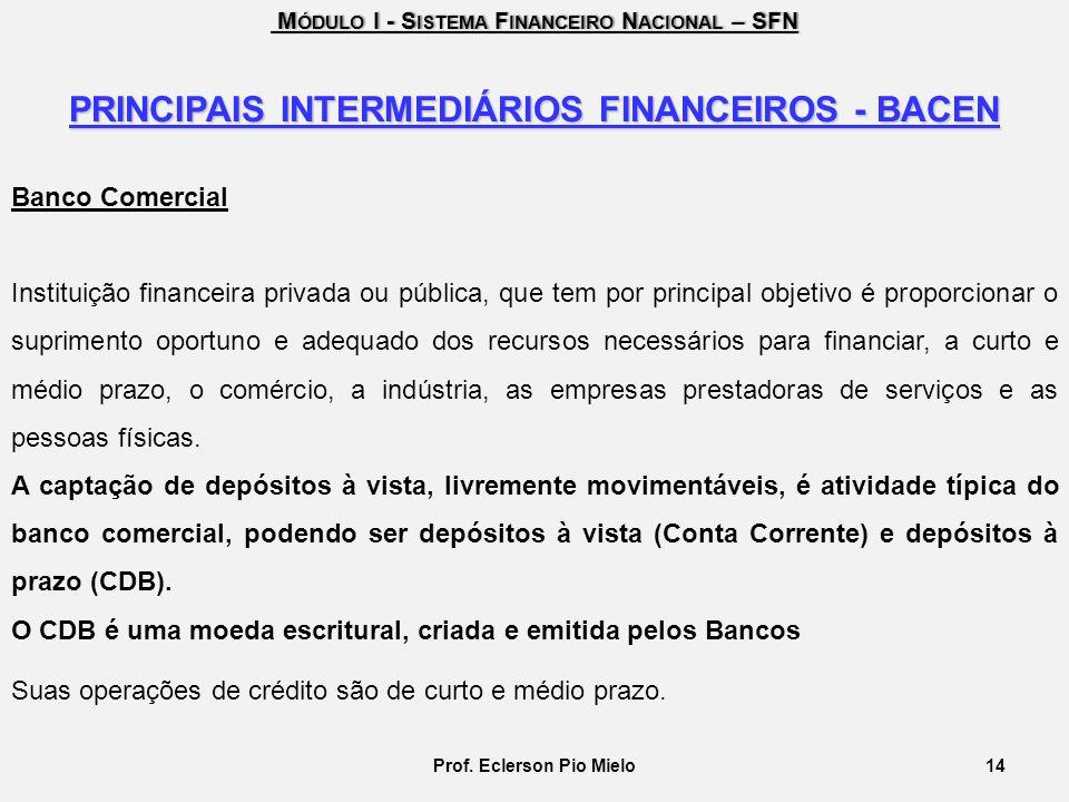 M ÓDULO I - S ISTEMA F INANCEIRO N ACIONAL – SFN M ÓDULO I - S ISTEMA F INANCEIRO N ACIONAL – SFN PRINCIPAIS INTERMEDIÁRIOS FINANCEIROS - BACEN Banco