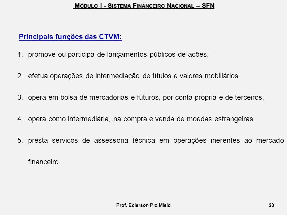 M ÓDULO I - S ISTEMA F INANCEIRO N ACIONAL – SFN M ÓDULO I - S ISTEMA F INANCEIRO N ACIONAL – SFN Principais funções das CTVM: 1.promove ou participa