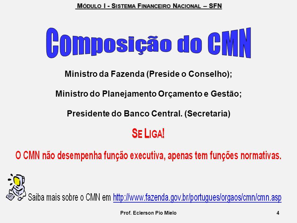 M ÓDULO I - S ISTEMA F INANCEIRO N ACIONAL – SFN M ÓDULO I - S ISTEMA F INANCEIRO N ACIONAL – SFN Ministro da Fazenda (Preside o Conselho); Ministro d