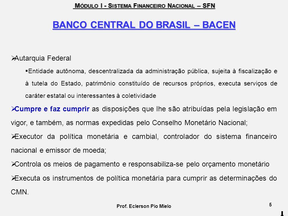 M ÓDULO I - S ISTEMA F INANCEIRO N ACIONAL – SFN M ÓDULO I - S ISTEMA F INANCEIRO N ACIONAL – SFN BANCO CENTRAL DO BRASIL – BACEN Autarquia Federal En