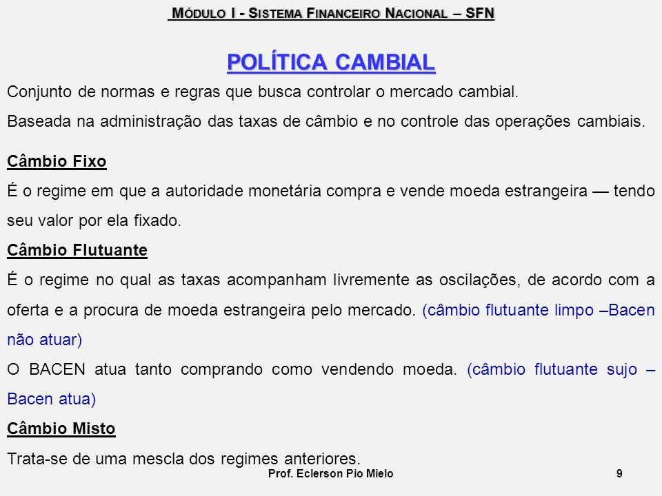M ÓDULO I - S ISTEMA F INANCEIRO N ACIONAL – SFN M ÓDULO I - S ISTEMA F INANCEIRO N ACIONAL – SFN 9Prof. Eclerson Pio Mielo POLÍTICA CAMBIAL Conjunto