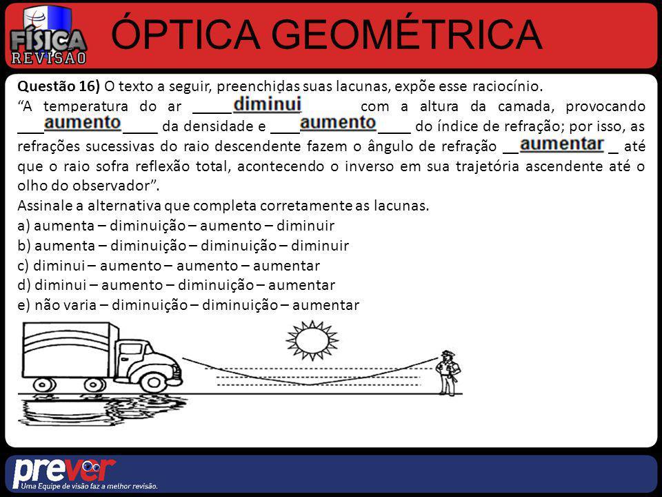 ÓPTICA GEOMÉTRICA Questão 18) Considere um raio de luz monocromático de comprimento de onda λ, que incide com ângulo θ i em uma das faces de um prisma de vidro que está imerso no ar, atravessando- o como indica a figura.